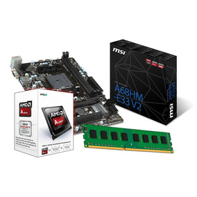 Kit Amd A4 6300 3.7 Ghz, Placa Mãe Msi A68hm-e33, 8gb Ddr3