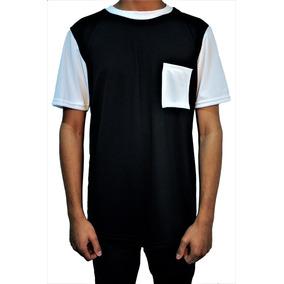 a5fccd114fa99 Camiseta Masculina Com Bolso Preta E Branca Swag Camisa