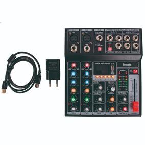 Mesa De Som Bluetooth Usb Mixer Mp3 Player Digital 5 Canais