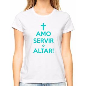 Babylook Blusa Feminina Amo Servir O Altar Gospel Jesus Cruz
