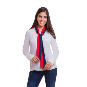 Blusa Dama Blanca Con Corbatin Rojo Y Azul Devendi Denim Co