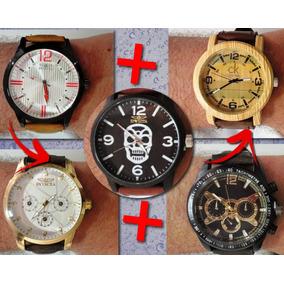 6fc1de5d4056b Relogios Masculinos Pulseira Couro Preto Grande - Joias e Relógios ...