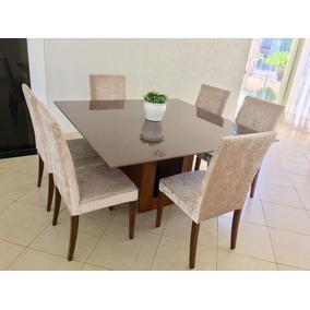 Mesa De Vidro Bisotado Com 6 Cadeiras