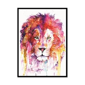 Leão Aquarela - Poster Com Moldura Médio Quadro S/ Vidro