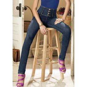 Divertida Jeans Corte Skinny Retro Pretina Alta Dama 1197679