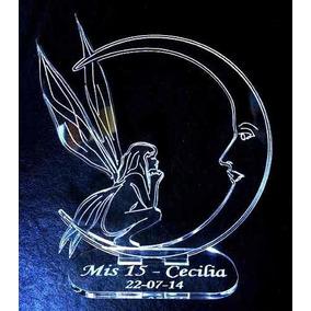 Souvenir Hada Y Luna De Acrilico Cumpleaños 15 Años Bodas