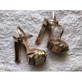 Sapato Sandália Salto Alto Dourado Schutz Meia Pata