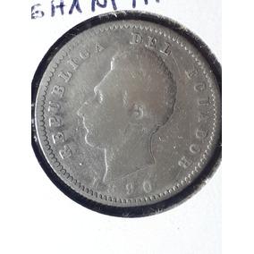 Moneda Antigua-dos Decimos-1890-plata-ecuatoriana