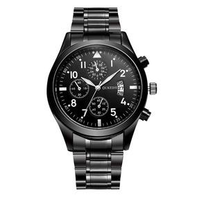 Relógio Luxo Masculino Importado Pulso Social Pulseira Aço