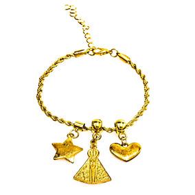 Pulseira Dourada Bijuteria Corrente Delicada Com Nossa Senho