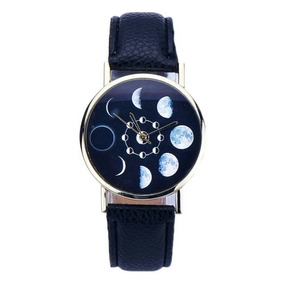 Relógio Eclipse Lunar, De Couro,movimento Quartzo Analógico