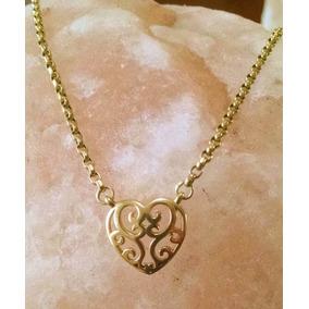 Collar De Corazón Con Cadena Rolo 2mm 42cm Oro Sólido 14k