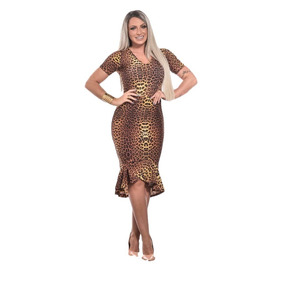 Vestido Animal Print Mid Com Babado Moda Evangelica