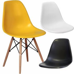 Kit X 4 Cadeiras Eames Wood Originais Suporta Ate 130kg