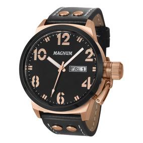 Relógio Magnum Casual Ma32783p Masculino Bronze Rosê E Preto