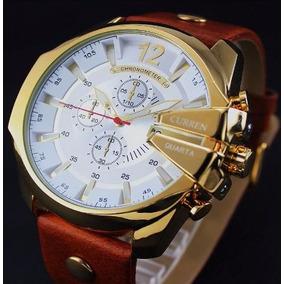 Relógio Masculino Curren Dourado Couro Luxo - Frete Grátis