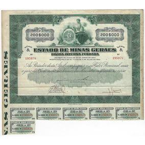 Brasil 1934 Apólice Da Dívida De Minas Gerais Cor Verde