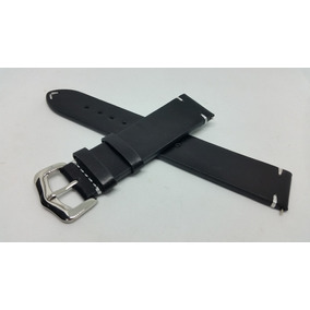 Correas De Reloj Cuero Negra Tipo Vintage 20mm Envío Gratis