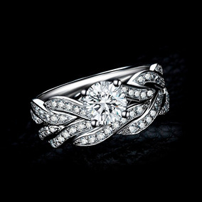 Anillo De Compromiso Diamante Cubic Zirconia Baño Oro