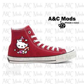 Converse Hello Kitty Caramelo Navidad Rojo Pintado A Mano
