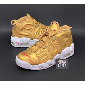 Tênis Nike Air More Uptempo X Supreme Suptempo Gold