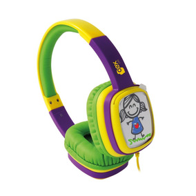 Fone Ouvido Headphone Cartoon Hp302 Oex Kids Roxo E Verde