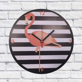 ae6ffbc124a Relógio De Parede Sala Madeira Flamingo Cor Preto 30x30x2cm