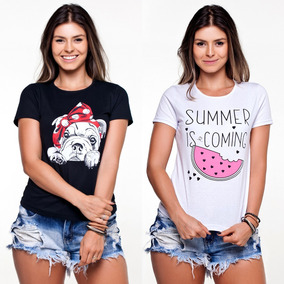 Kit 10 T-shirts Blusas Feminina Roupas Atacado Revenda 4678aaa652f