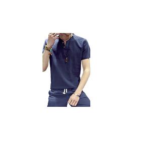 Hombre-tejido Oriental Deportes Lino Camiseta, Escote En Pic