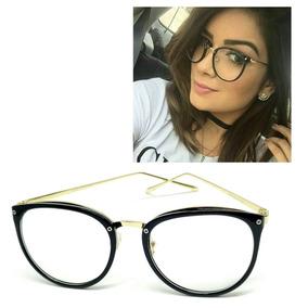 4a869edc50337 Óculos Armação De Grau Feminino Redondo Geek Metal C  Brinde