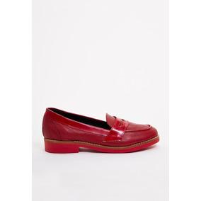 Mocasines De Mujer Lazaro Mondrian Cuero Rojo