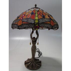 Lindo Abajur Luminaria Tiffany Com Escultura Cod Fa144 40a