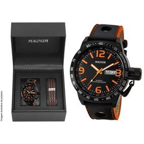 Relógio Magnum Masculino Couro Military Ma31542c Brinde + Nf
