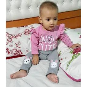 Roupa Bebê E Infantil Conjunto Body Com Babado E Calça Inver
