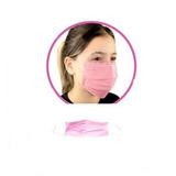 Mascara Descartável Rosa Com Elástico 50 Unidades