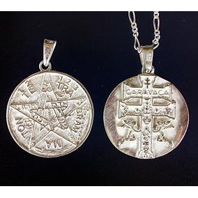 Dije De Tetragramaton Y Caravaca En 1 Plata .925 Con Cadena