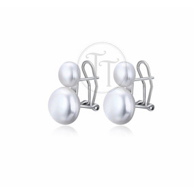 Aretes Perla Natural 11.5 Mm Plata Esterlina 925 Clip Slim