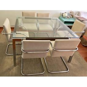 Mesa De Jantar Aço Inox Com Vidro E 6 Cadeiras