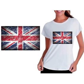 4d5fdf81b8 Camiseta Bandeira Inglaterra - Camisetas Manga Curta para Feminino ...