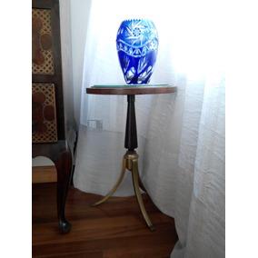 Jarrón De Cristal Tallado Azul