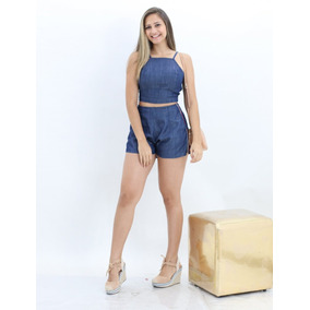 Conjunto Jeans Feminino Shorts Com Cropped