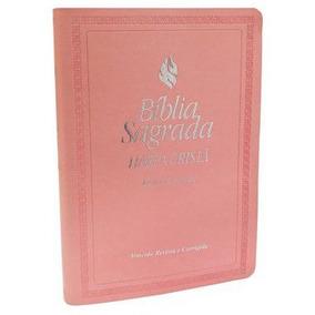Bíblia Grande Com Harpa Cristã Rosa