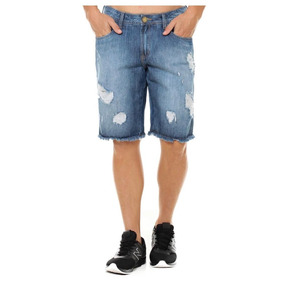 Bermuda Jeans Masculina Evt Middle Destroyed - Eventual