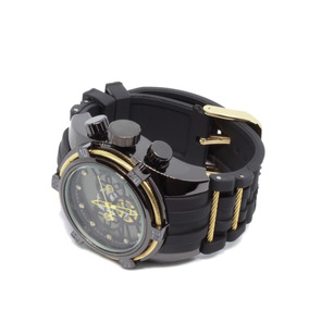 Relógio De Pulso Dourado/preto Acabamentos Perfeitos