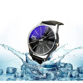 Relógio Importado Yazole Preto Pulseira De Couro Masculino