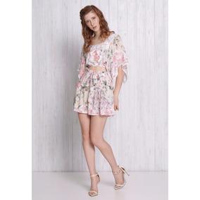 Conjunto Blusa Cropped E Short Em Viscose Maquinetada Floral