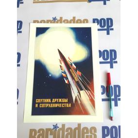 Cartaz Pôster Soviético Comunista Corrida Espacial 1970 Cccp