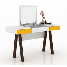 Penteadeira Escrivaninha Pe2002 Branco/amarelo- Tecno Mobili