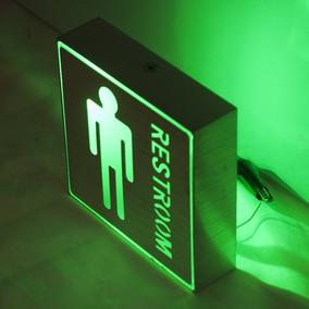 Placa Led Metal Indicativa Banheiro Masculino Wc Toalete