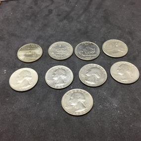 Moedas America Lote (9) 25 Cents Datas Variadas